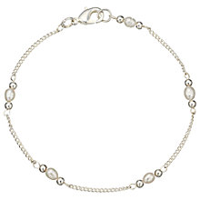 Buy John Lewis Silver Plated Faux Pearl Link Bracelet, Silver Online at johnlewis.com