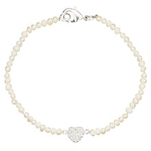 Buy John Lewis Silver Plated Faux Pearl With Heart Bracelet, White Online at johnlewis.com