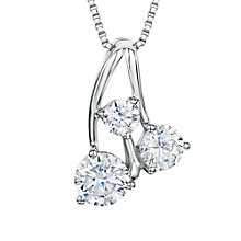 Buy Jools by Jenny Brown Rhodium Plated Sterling Silver Cubic Zirconia Tripple Cherry Pendant, Silver Online at johnlewis.com