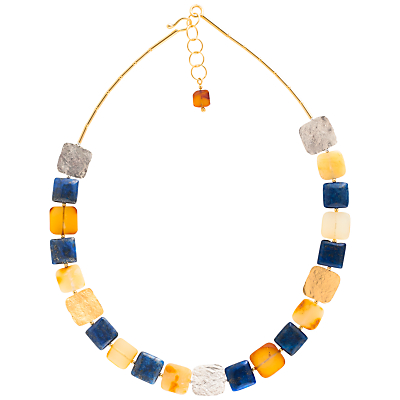 Be-Jewelled Amber and Lapis Gold Plated Collar Necklace, Multi