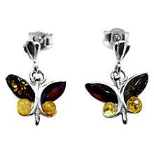 Buy Goldmajor Amber and Sterling Silver Butterfly Earrings, Multi Online at johnlewis.com