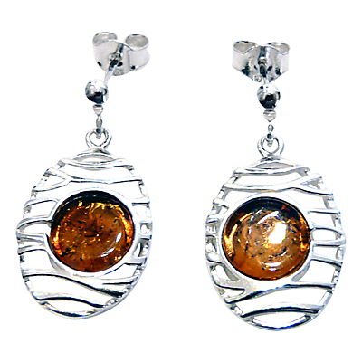 Goldmajor Amber and Sterling Silver Lattice Drop Earrings, Silver/Amber