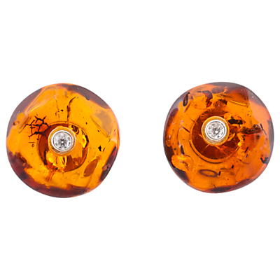 Be-Jewelled Amber Cubic Zirconia Stud Earrings, Amber