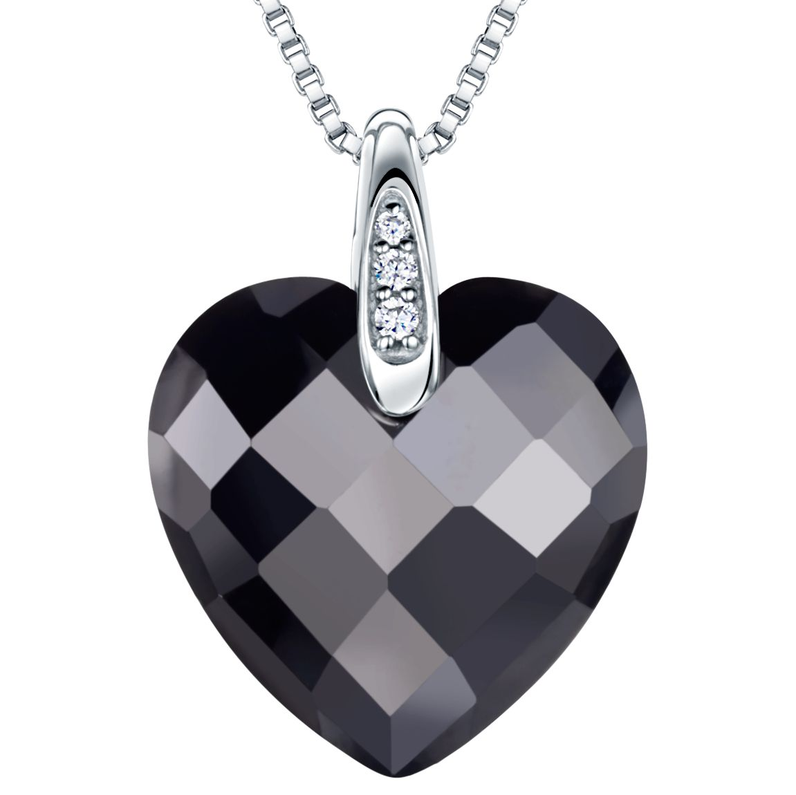 Jools by Jenny Brown Jools by Jenny Brown Rhodium Plated Silver Cubic Zirconia Heart Shaped Pendant