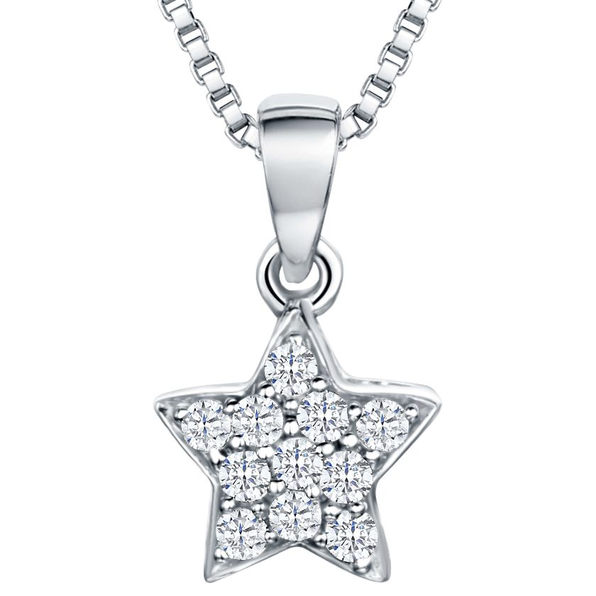 Jools by Jenny Brown Jools by Jenny Brown Rhodium Plated Silver Cubic Zirconia Star Pendant, Silver