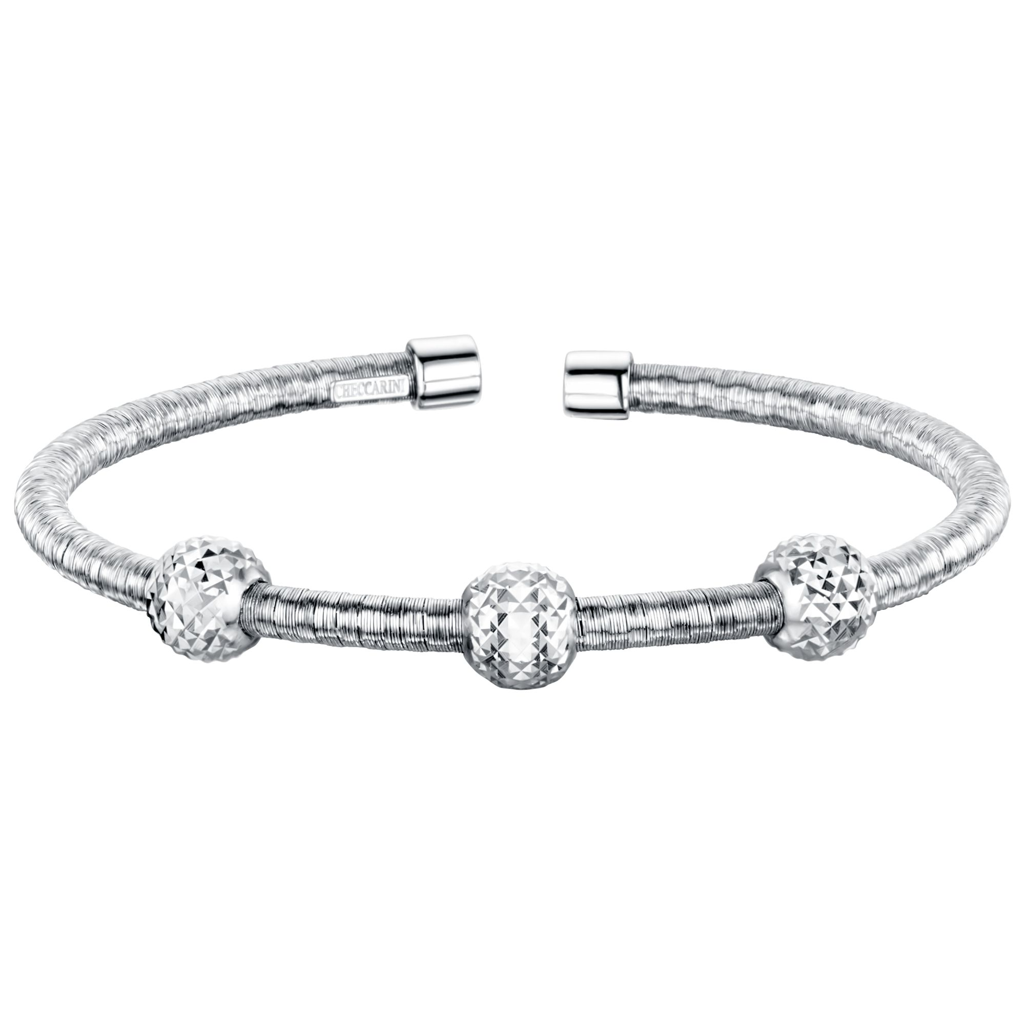 Jools by Jenny Brown Jools by Jenny Brown Rhodium Plated Silver and Cubic Zirconia Single Band Bangle, Silver