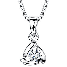 Buy Jools by Jenny Brown Sterling Silver Cubic Zirconia Triangle Pendant, Rhodium Online at johnlewis.com
