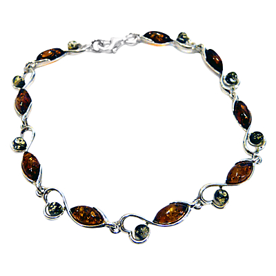 Goldmajor Amber and Sterling Silver Bracelet, Amber/Green