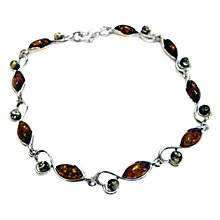 Buy Goldmajor Amber and Sterling Silver Bracelet, Amber/Green Online at johnlewis.com