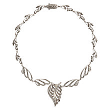 Buy Sharon Mills Vintage 1979 Marcasite Leaf Drop Pendant Necklace, Silver Online at johnlewis.com