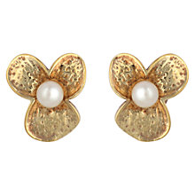 Buy Sharon Mills Vintage Silver Gilt Pearl Flower Clip-On Earrings, Gold Online at johnlewis.com