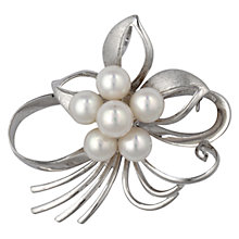 Buy Sharon Mills Vintage Silver Pearl Brooch, Silver Online at johnlewis.com