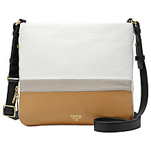 Buy Fossil Preston Crossbody Leather Bag, Neutral Multi Online at johnlewis.com