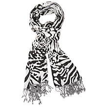 Buy Chesca Abstract Animal Print Scarf, Ivory / Black Online at johnlewis.com