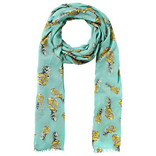 Buy John Lewis Pineapple Print Scarf, Turquoise Online at johnlewis.com