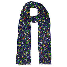 Buy John Lewis Archive Floral Bird Scarf, Blue Online at johnlewis.com