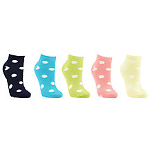 Buy John Lewis Spot Print Trainer Liner Socks, Pack of 5, Multi Online at johnlewis.com