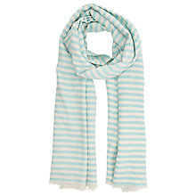 Buy John Lewis Textured Stripe Cotton Scarf, Turquoise Online at johnlewis.com