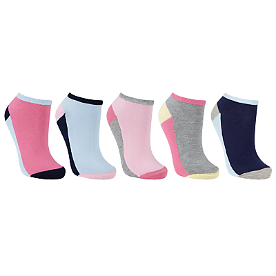 John Lewis Colour Block Trainer Socks, Pack of 4, Multi