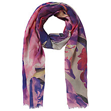 Buy John Lewis Kew Digital Wool Blend Scarf, Pink Online at johnlewis.com