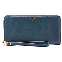 Buy Fossil Sydney Zip Clutch Bag, Heritage Blue Online at johnlewis.com