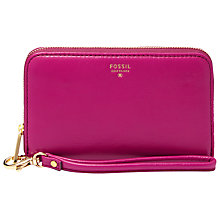 Buy Fossil Sydney Leather Zip Phone Wallet, Fuschia Online at johnlewis.com
