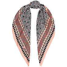 Buy Jaeger Tile Print Silk Scarf, Pink Online at johnlewis.com