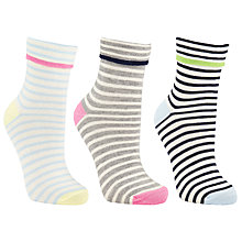 Buy John Lewis Turn Over Stripe Ankle Socks, Pack of 3, Multi Online at johnlewis.com