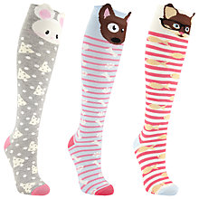Buy John Lewis Pet Animal Cotton Blend Knee High Socks, Pack of 3, Multi Online at johnlewis.com