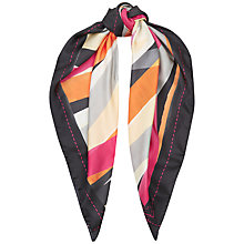 Buy Jaeger J Print Silk Square Scarf, Pink Online at johnlewis.com