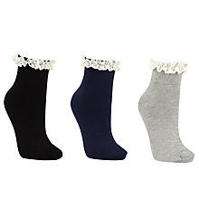 Buy John Lewis Plain Frill Ankle Socks, Pack of 3, Grey/Black/Navy Online at johnlewis.com