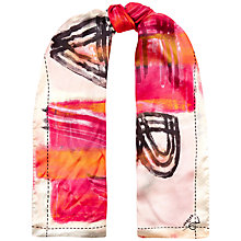 Buy Jaeger Large Tiles Silk Satin Scarf, Pink Online at johnlewis.com