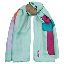 Buy Jaeger Bright Blockweave Square Scarf, Turquoise Online at johnlewis.com