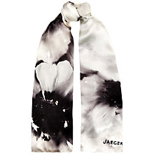 Buy Jaeger Blurred Flower Silk Satin Scarf, Black Online at johnlewis.com