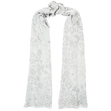 Buy Jaeger Silk Modal Leopard Scarf, Grey Online at johnlewis.com