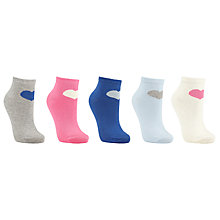 Buy John Lewis Heart Print Trainer Liner Socks, Pack of 5, Multi Online at johnlewis.com