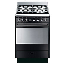 Buy Smeg SUK61MBL8 Dual Fuel Cooker, Gloss Black Online at johnlewis.com