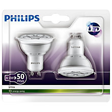 Buy Philips LED 4.5W GU10 Spotlight, Pack of 2, Clear Online at johnlewis.com