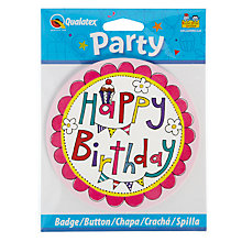 Buy Rachel Ellen Pink Birthday Badge Online at johnlewis.com