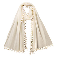 Buy East Fine Wool Pom Scarf, Calico Online at johnlewis.com