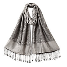 Buy East Monochrome Paisley Scarf, Slate Online at johnlewis.com