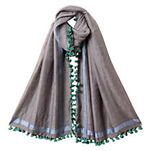 Buy East Wool Silk Pom Pom Scarf, Ash Online at johnlewis.com