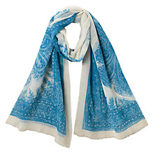 Buy East Wool Tile Print Scarf, Blue Online at johnlewis.com