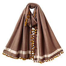 Buy East Wool Silk Pom Pom Scarf, Stone Online at johnlewis.com