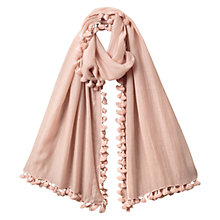 Buy East Silk Blend Pom Pom Scarf, Soft Blush Online at johnlewis.com