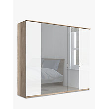 Buy John Lewis Elstra 250cm Wardrobe with Glass Hinged Doors, White Glass/Light Rustic Oak Online at johnlewis.com