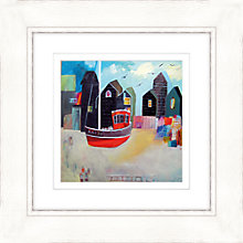 Buy Kathryn Matthews - Red Boats Framed Print, 52 x 52cm Online at johnlewis.com