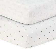 Buy John Lewis Star and Sheep Printed Fitted Cotbed Sheet, Pack of 2, White/Grey Online at johnlewis.com