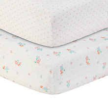 Buy John Lewis Spotted and Floral Printed Fitted Cotbed Sheet, Pack of 2, White/Multi Online at johnlewis.com