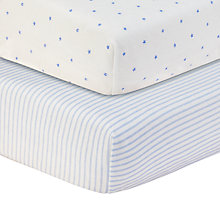 Buy John Lewis Star and Striped Printed Fitted Cotbed Sheet, Pack of 2, White/Blue Online at johnlewis.com